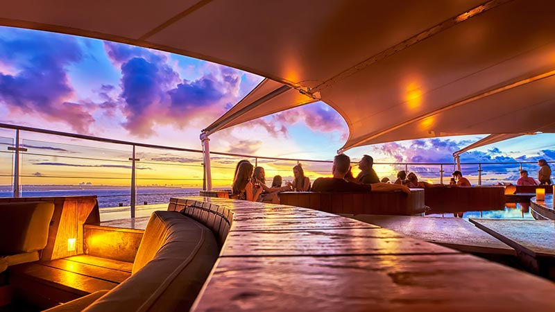 Best rooftop bars in Bali: Seminyak sunset from Double-Six rooftop bar