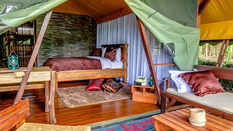 Camping in Bali: Each Sang Giri glamping tent has en-suite bathroom and private terrace
