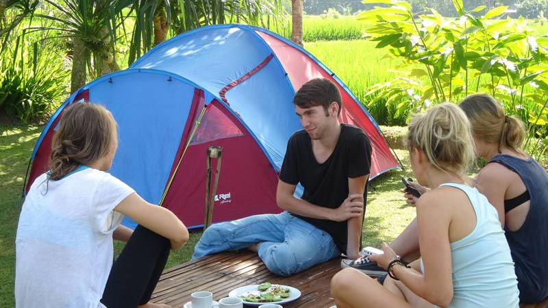 Camping in Bali: UbudCamp in the middle of rice fields