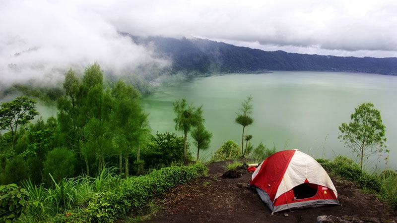 Camping in Bali: views from Mount Abang