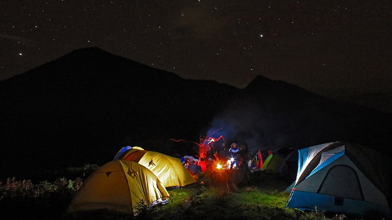 Camping in Bali: Pinggan village in Bangli regency