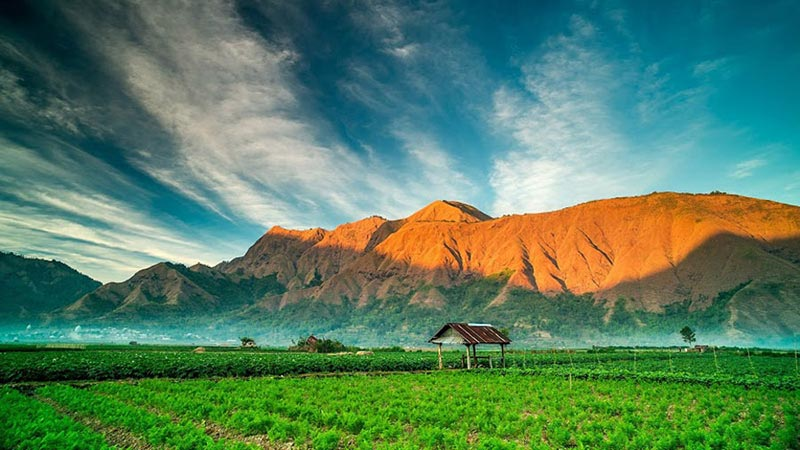 National parks in Indonesia: Sembalun Lawang village at Mount Rinjani National Park