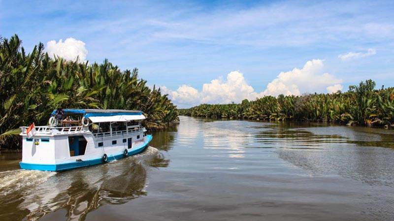 National parks in Indonesia: A local boat at Camp Lakey