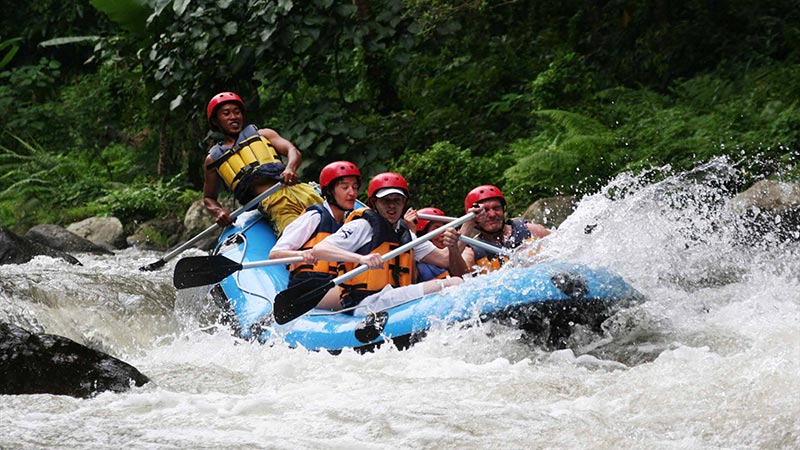 Things to do in Bali when it rains: River rafting through the jungle