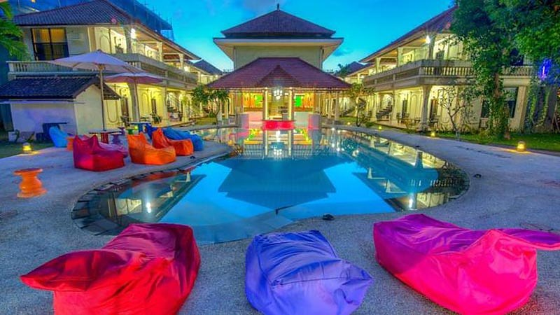 Travelling alone in Bali: TZ Party Hostel is a popular accommodation option for solo travellers